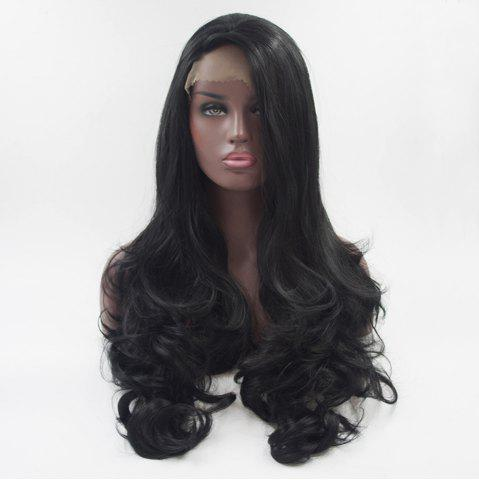 Online 18 - 24 Inch Long Curly style Black Heat Resistant Synthetic Hair Lace Front Wigs for Women