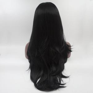 16 - 24 Inch Long Black Natural Curly Heat Resistant Synthetic Hair Lace Front Wigs for Women -
