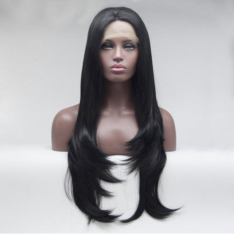 Hot 16 - 24 Inch Black Long Straight for Women Heat Resistant Synthetic Hair Lace Front Wigs