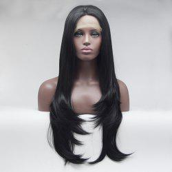 16 - 24 Inch Black Long Straight for Women Heat Resistant Synthetic Hair Lace Front Wigs -