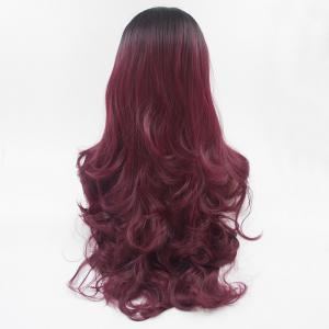 16 - 24 Inch Burgundy Long Curly Black Root Heat Resistant Synthetic Hair Wigs for Women -