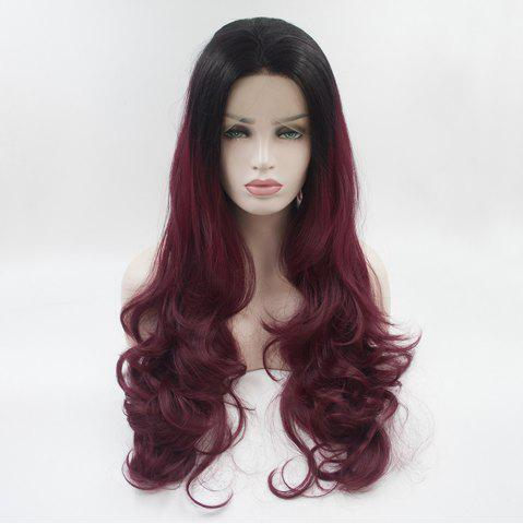 Trendy 16 - 24 Inch Burgundy Long Curly Black Root Heat Resistant Synthetic Hair Wigs for Women