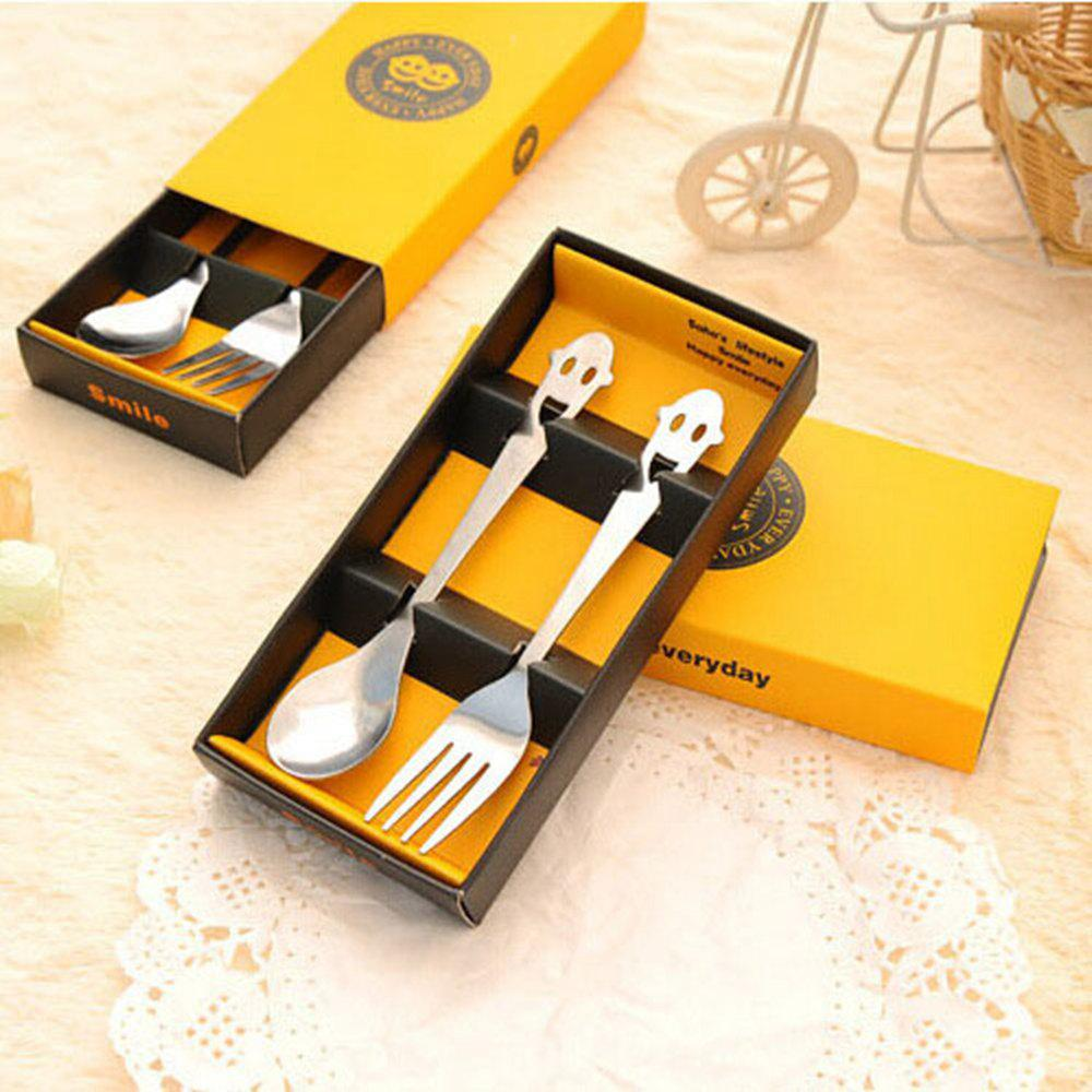 Silver 2 Pcs Stainless Steel Happy Smiley Tableware Spoon Fork With ...