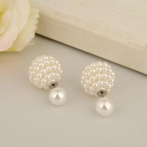 Fashion Jewelry Women Ball Earrings Double Pearl Stud Earrings For Women -