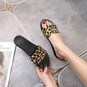 YQ-A97 Flat Bottomed Leopard Print with Open Toe Slippers -