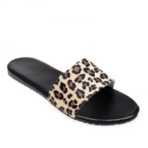 Hot YQ-A97 Flat Bottomed Leopard Print with Open Toe Slippers