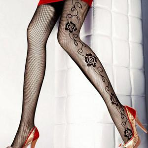E09112 Flower Pattern Sexy Fishnet Thigh-Highs -