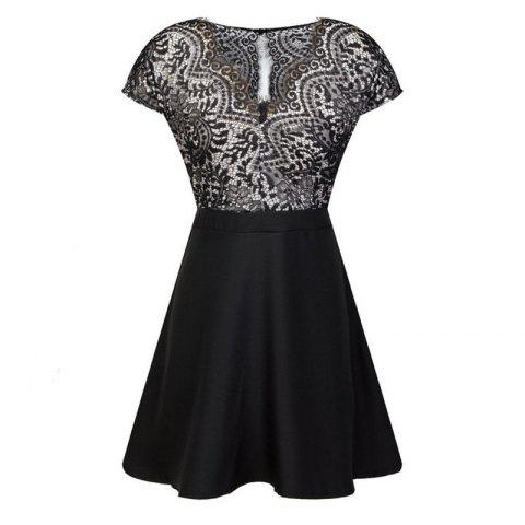 Outfits Lace Stitching V Collar Dress