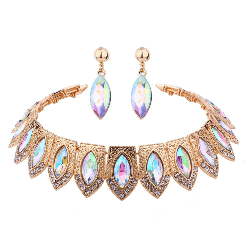Shops Multi-color Alloy High-grade Rhinestone Collar Earrings Set
