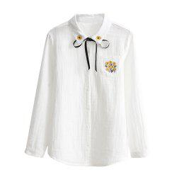 Small Fresh Cotton Ribbon Embroidery Double Cotton White Shirt -