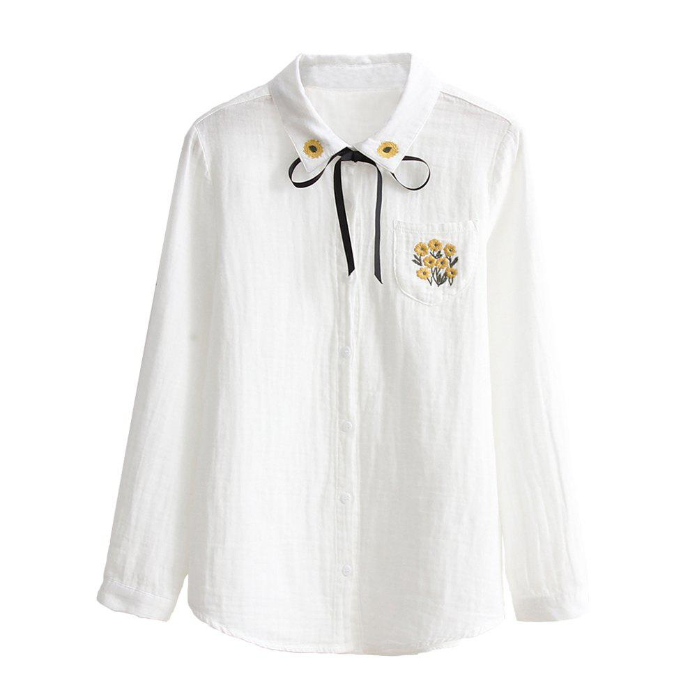 Latest Small Fresh Cotton Ribbon Embroidery Double Cotton White Shirt