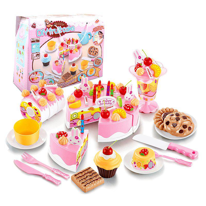 Trendy DIY Fruit Cake Cutting Pretend Play Toys Set 75PCS