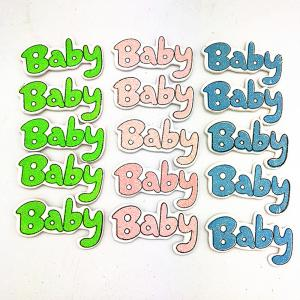 Color Glitter Baby Wood Stickers Birthday Party Decoration 30PCS -