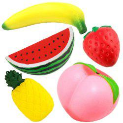 Slow Rising Jumbo Peach Banana Watermelon Pineapple Strawberry Fruit Squishies Party Supplies 5PCS -