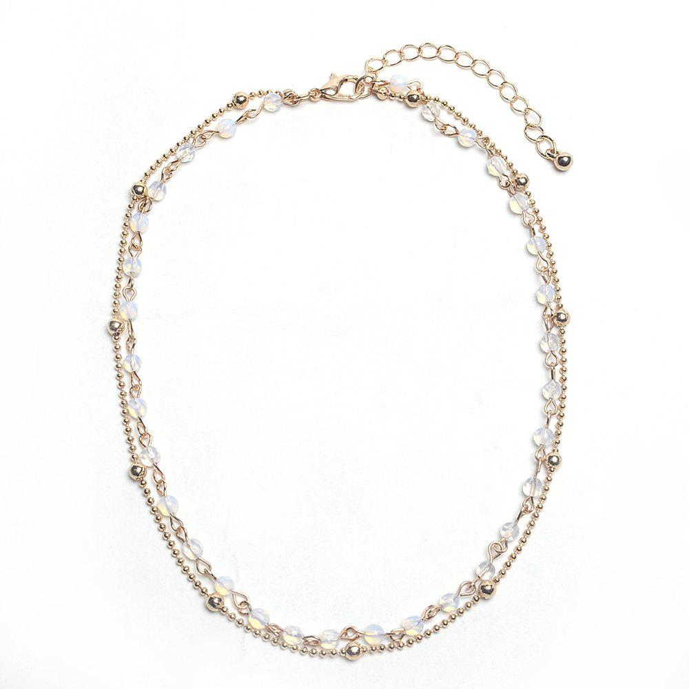 2019 hot simple 2 layers choker necklace opal stone beads