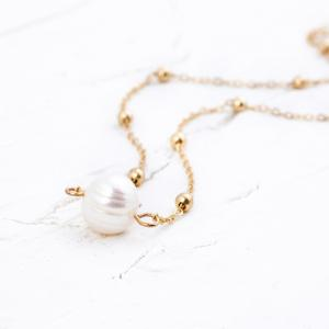 Simple choker Necklace Fashion Gold Color Chain Necklace with Freshwater Pearls for Women Jewelry -
