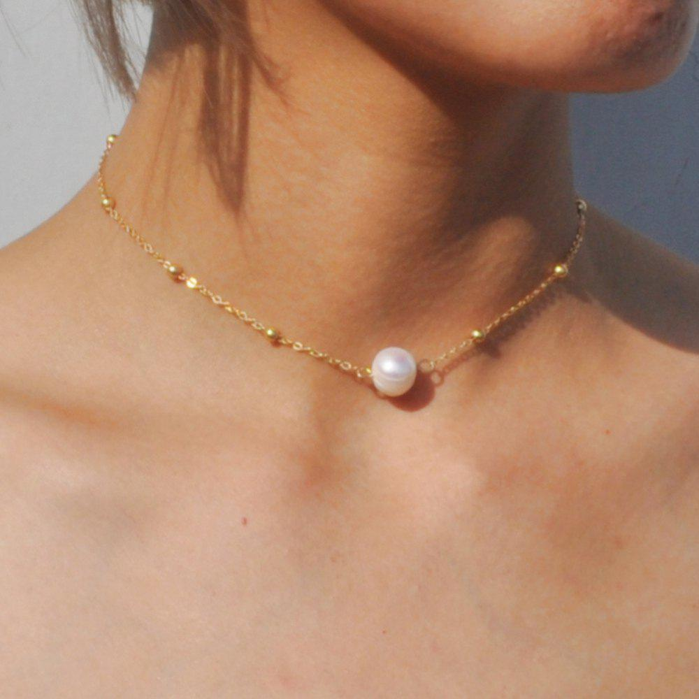 Chic Simple choker Necklace Fashion Gold Color Chain Necklace with Freshwater Pearls for Women Jewelry