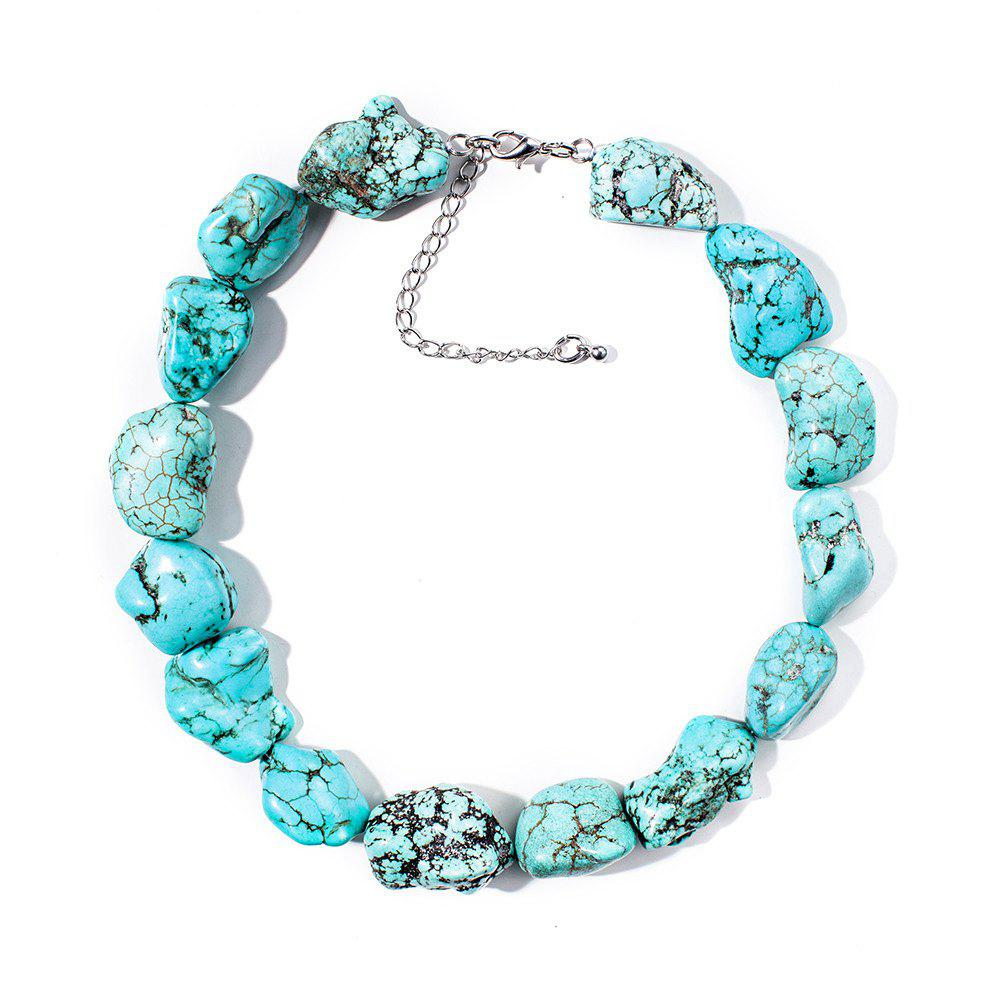 Buy Women Choker Necklace Natural Blue Stone Raw 2017 Boho Chokers Necklaces for Women Jewelry Gift