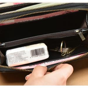NaLandu Multi-purpose Generous Wax Leather Purse Organizer Double Zip Around Large Women Wallet with Wristlet -