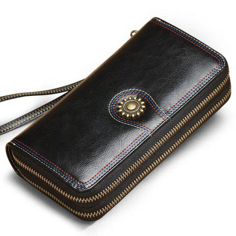 Best NaLandu Multi-purpose Generous Wax Leather Purse Organizer Double Zip Around Large Women Wallet with Wristlet
