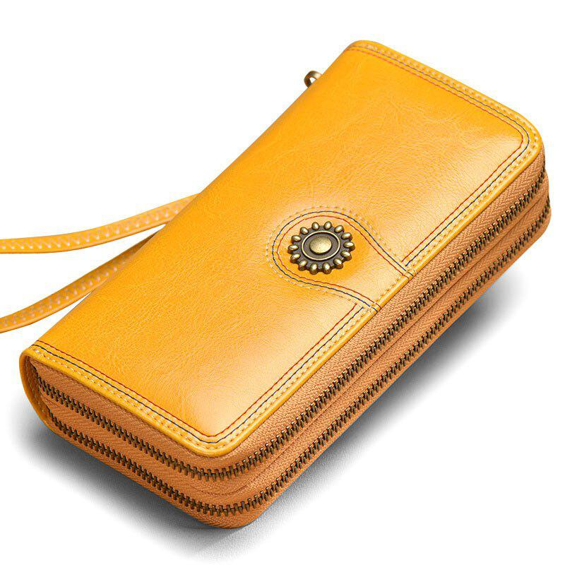 Discount NaLandu Multi-purpose Generous Wax Leather Purse Organizer Double Zip Around Large Women Wallet with Wristlet