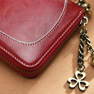 NaLandu Vintage Women Large Capacity Luxury Wax Leather Zippered Wallet Wristlet Handbag Clutch -