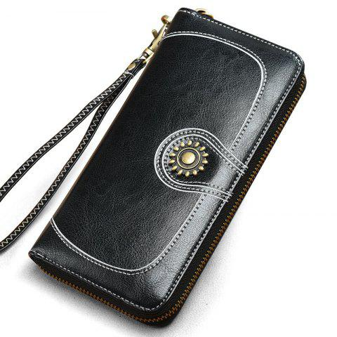 Affordable NaLandu Vintage Women Large Capacity Luxury Wax Leather Zippered Wallet Wristlet Handbag Clutch