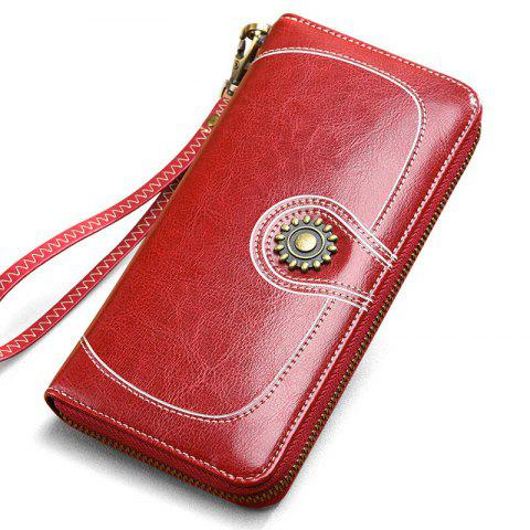 Outfit NaLandu Vintage Women Large Capacity Luxury Wax Leather Zippered Wallet Wristlet Handbag Clutch