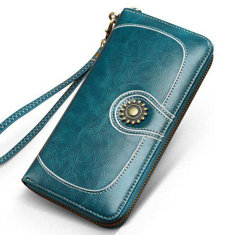 Online NaLandu Vintage Women Large Capacity Luxury Wax Leather Zippered Wallet Wristlet Handbag Clutch