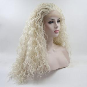 18 - 24 Inch Light Blonde Long Water Wavy Style Heat Resistant Synthetic Hair Lace Front Wigs for Women -
