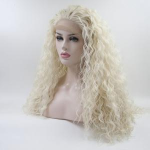 Light Blonde Long Water Wavy Style Heat Resistant Synthetic Hair Lace Front Wigs for Women -