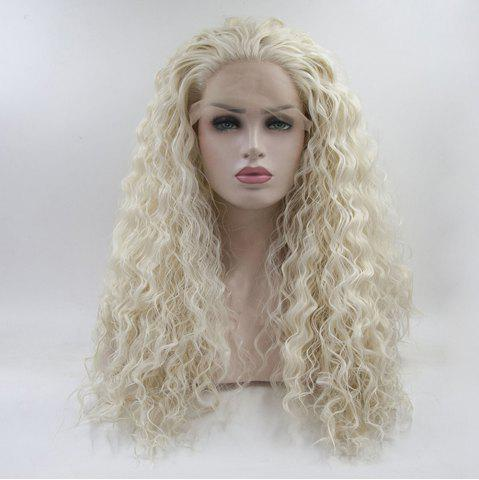 Trendy Light Blonde Long Water Wavy Style Heat Resistant Synthetic Hair Lace Front Wigs for Women