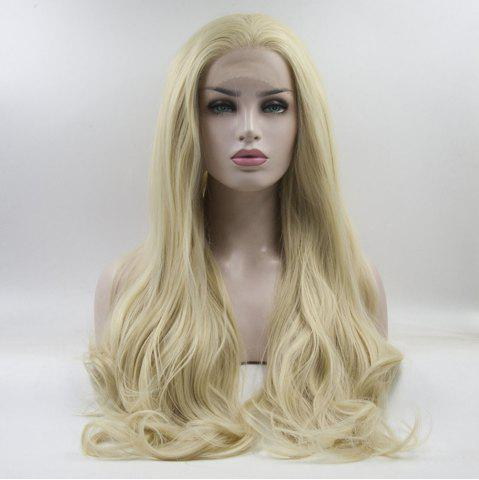 Fancy 16 - 24 Inch Yellow Long Wavy Style Handmade Heat Resistant Synthetic Hair Wigs for Women