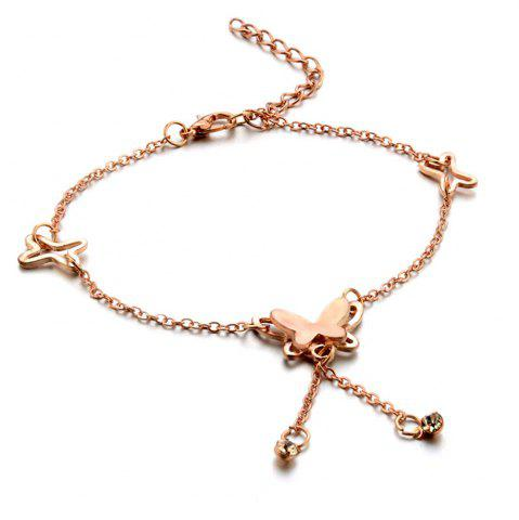 Trendy Rose Gold Butterfly Anklet