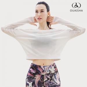Ou Essar Yoga Fitness Perspective Sexy Transparent à manches longues Sportswear -