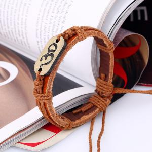 Vintage Alloy Leather Bracelet Weaving Rope Bangle Charm Jewelry -