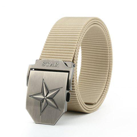 Trendy Quick Dry Adjustable Military Tactical Weaving Nylon Waist Belt Pentagram Shape Metal Buckle