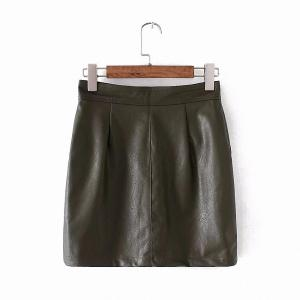 Double Pocket Artificial Leather Package Hip Skirt -