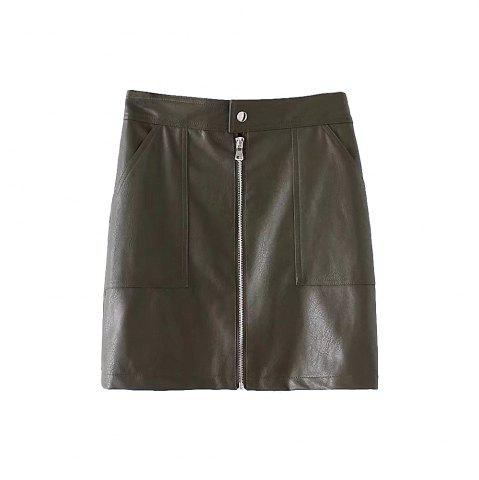 Store Double Pocket Artificial Leather Package Hip Skirt
