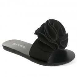 Slippers with Flat Bottom and Antiskid Flowers -