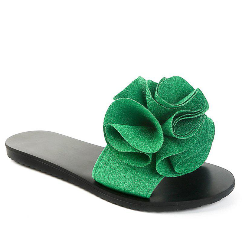 Online Slippers with Flat Bottom and Antiskid Flowers