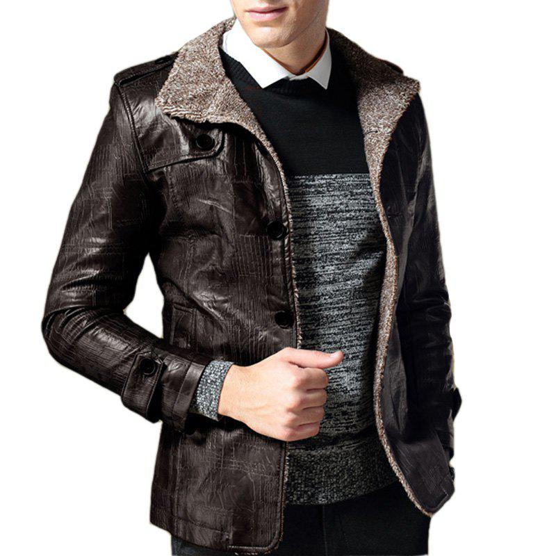 Affordable B1212 Men's Synthetic Leather Jacket Thicken Warm Stylish Jacket