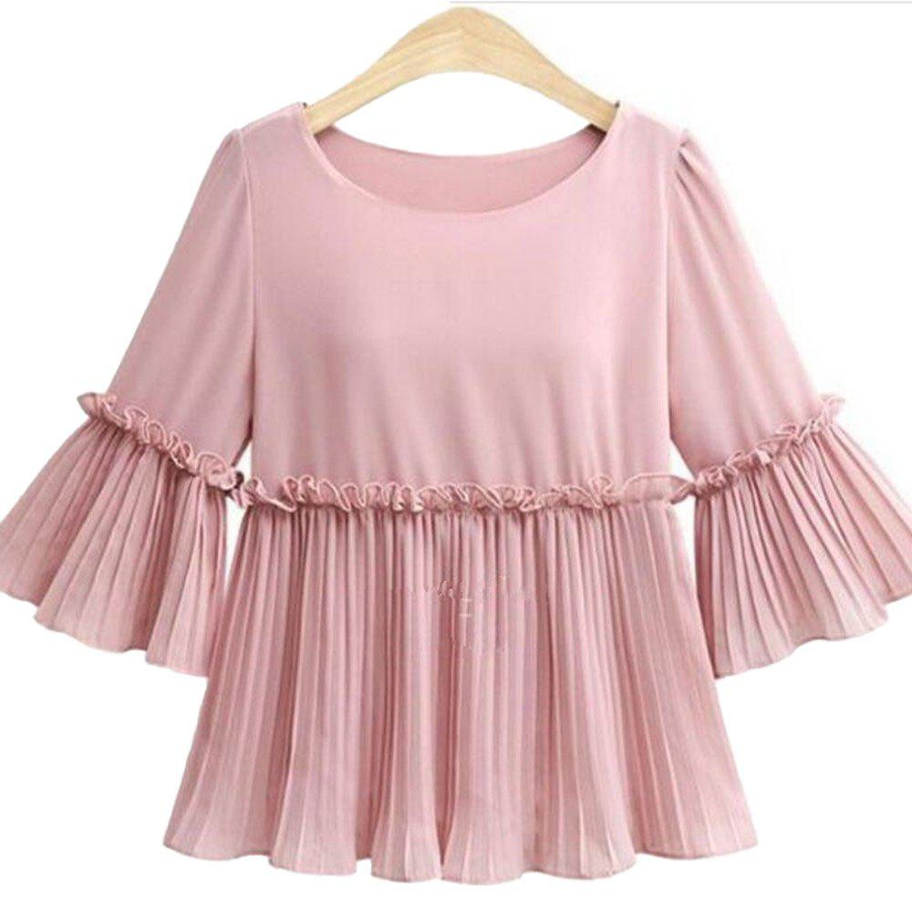 Outfits Simple Mid-Sleeve Plus-Size Chiffon Shirt