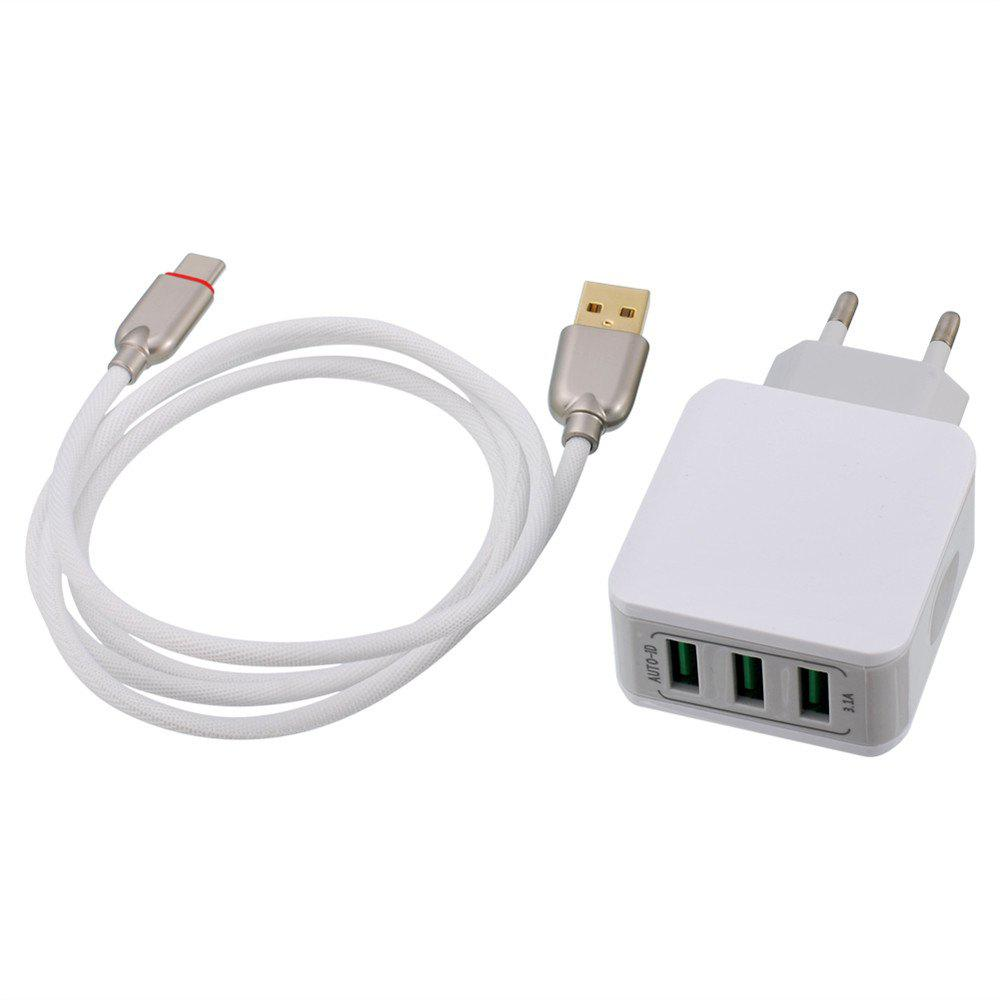 Универсальный 5V 3.1A 3 USB Quick Charge 3.0 Type-C