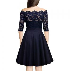 Embroidery Vintage Women Off Shoulder  Patchwork Half Sleeve Casual Evening Party A-Line Lace Dress -