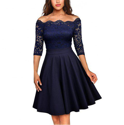 Discount Embroidery Vintage Women Off Shoulder  Patchwork Half Sleeve Casual Evening Party A-Line Lace Dress