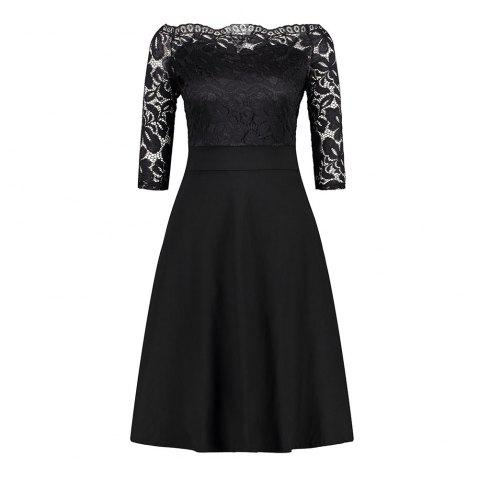 Chic Embroidery Vintage Women Off Shoulder  Patchwork Half Sleeve Casual Evening Party A-Line Lace Dress