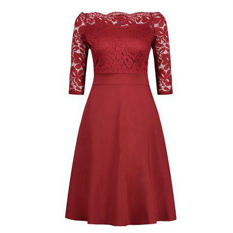 Unique Embroidery Vintage Women Off Shoulder  Patchwork Half Sleeve Casual Evening Party A-Line Lace Dress
