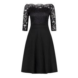 Embroidery Women Off Shoulder  Patchwork Half Sleeve Casual Evening Party A-Line Lace Dress -