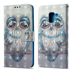 3D Painting Filp Case for Samsung Galaxy A8 2018 Gray Owl Pattern PU Leather Wallet Stand Cover -